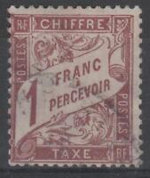 """FRANCE STAMP TIMBRE TAXE N° 25 """"TYPE DUVAL 1F MARRON"""" OBLITERE TB K507"""
