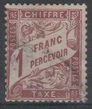 "FRANCE STAMP TIMBRE TAXE N° 25 ""TYPE DUVAL 1F MARRON"" OBLITERE TB K507"