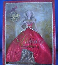 Barbie - 2014 Holiday Doll with Ornament- Blonde in Red & Gold Gown - NEW