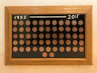 Canadian Penny Collection Mounted In Frame 1955-2011