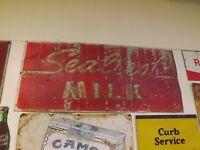Vintage Larger Metal Sealtest Milk Sign GAS OIL SODA COLA