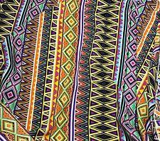 Crepe de Chine Fabric - AZTEC CHEVRON STRIPE 1/3 yd remnant
