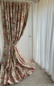 """ROMO Linen Interlined Curtains 49""""w 97""""d Cream Red Triple Pinch Pleat PAIR 1of 2"""