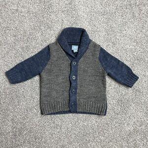 Baby Gap Boys Infant Children Kids Blue Knitted Cardigan Jumper Age 3-6 Months