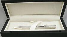 Silver Fluted Lines Guilloche .9mm Pencil In Black Lacquer Box