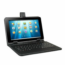 "Black Leather 9"" / 9.5"" Tablet Case + Micro USB Keyboard Android - UK STOCK!"