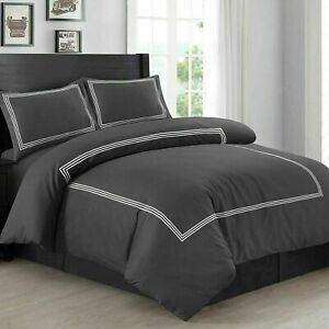 Beretta Stitch Duvet Quilt Cover Bedding Set Double Charcoal Luxury Embroidered