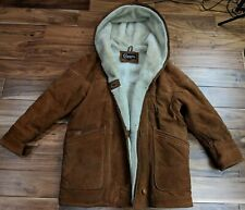 COLEBROOK Hooded Shearling Coat Winter Jacket Parka Leather Womens Mens Large XL