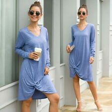 Solid Loose V  00006000 Neck Dress Casual Dresses Ladies Long Sleeve Maxi Womens Party