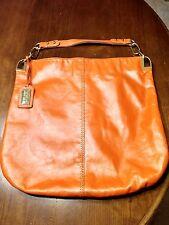 "BADGLEY MISCHKA 'Gaia"" Orange Slouch Hobo Distressed Leather Handbag"
