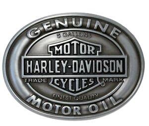 Harley-Davidson Men's Antique Silver Genuine Motor Oil Belt Buckle HDMBU10662