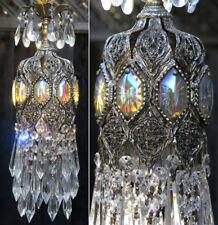 SWAG AB Lamp Vintage Chandelier Light Spelter Brass Jewel Filigree Foyer Hallway