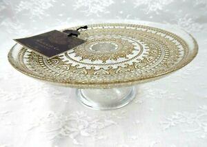 "Artistic Accents Turkish Clear Gold Medallion 8.5"" Dessert Stand Pedestal NWT!"