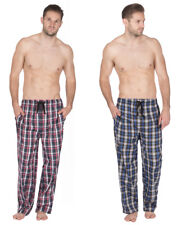 Mens Pyjama Lounge Trousers Bottoms Pants Full Length Elasticated Blue Red Check