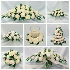 White, Ivory Wedding Flowers Top Table Display Pedestal Candle Ring Arrangement