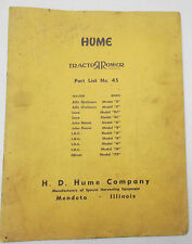 Hume Tractor Rower Parts List No 45 Allis Chalmers John Deere Case IHC Oliver