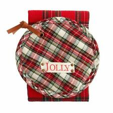 New listing Mud Pie Home White Tartan Pot Holder and Red Kitchen Towel Christmas Set