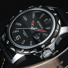 New CURREN 8104 Quartz Men Watch Vintage Auto Date Dial Fashion Leather Strap