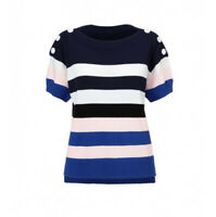 NEW CABI #5448 Women's XS  Blue & White Striped SAILOR PULLOVER Sweater NWOT