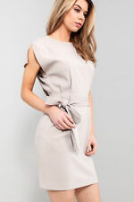 ASOS Belted Mini Dress with Split Cap Sleeve in Grey Sizes 6 to 18