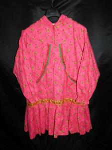 Alaska Native Eskimo Kuspuk 2X Pink Floral Tunic Dress 1/4 Zip Front Hood Ruffle