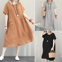 Vintage Women Short Sleeve Summer T-Shirt Dress Oversize Shirt Dress Sundress US