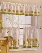 3pc Set Country Sunflower Kitchen Window Curtains Tier & Valance Green Yellow #z