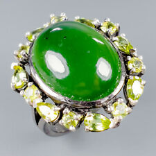 Handmade20ct+ Natural Chrysoprase 925 Sterling Silver Ring Size 8.5/R118324