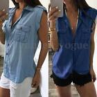 Zanzea 2017 Women Sleeveless V-neck Demin Jean Look Casual Tops Blouse T-shirt