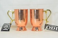 Old Dutch Solid Hammered Tankard with Brass Handle, 5-1/2-Inch, Copper