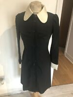 VINTAGE 60's BLACK CONTRAST CUFF MONOCHROME SCOOTER MOD MINI DRESS UK 8 SMALL