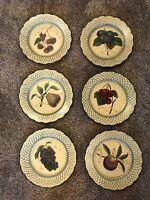"Lot Of (6) Raymond Waites Cornucopia Fruit Lattice 10.5"" Dinner Plates EUC"