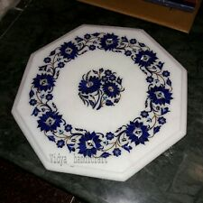 "12"" Marble Coffee Octagon Table Top Lapis Lazuli Inlay Floral Pattren Art Polish"