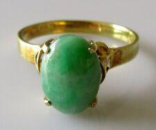 Vintage 14ct Oro Amarillo Oval cabochon moteado Jade Signet Anillo Talla L