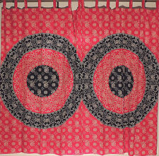 "Medallion Pattern Maroon Black Curtains - 2 Cotton Window Treatments Panels 80"""