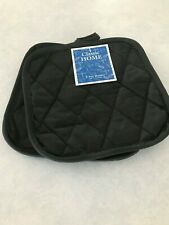 New listing Classic Home 2 Potholders Pot Holders Elegant Black Cotton Quilted New