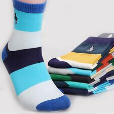 5 Pairs Men's Business Polo Sport Style Socks Striped Crew Combed Cotton Casual
