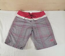 THE NORTH FACE Women Swim Shorts Pink Gray White Plaid Zip Back Pocket Size 8