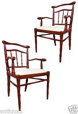 PAIR RED LACQUER HOLLYWOOD REGENCY STY HAND CARVD FAUX FEMALE BAMBOO ARM CHAIRS