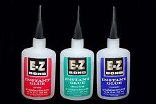 3 BOTTLES E-Z BOND SUPER GLUE (Cyanoacrylate) THIN , MEDIUM , THICK 2 OZ Each