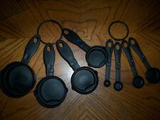 8 PIECE * 2 RINGS PLASTIC MEASURING CUP SPOON MEASUREMENT TOOL BLACK