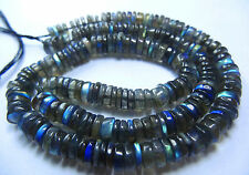 """143.cts 16"""" Blue Fire Labradorite SMOOTH TYRE SHAPE  BEADS Fine Quality 6 MM"""