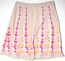 Hillard & Hanson Petite Cotton Skirt Sz 6P Beige Pink Gold Polka Dot w Grosgrain