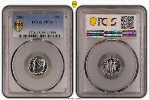 1961 Silver 10 Cent Dime Proof PCGS PR68