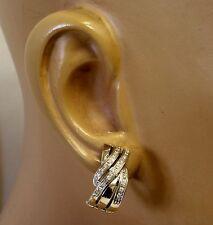 18k white gold .44ct VS1 G diamond omega back earrings 11.7g vintage estate