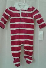 Polo Ralph Lauren Hot Pink & White Striped Velour Footie Size 3M NWT