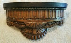 Beautiful Traditional Carved Wood-Look Corbel Wall Shelf Sconce