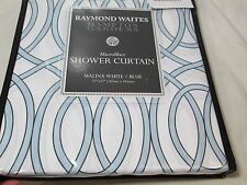 New HAMPTON GARDENS by Raymond Waites Fabric Shower Curtain MALINA - White/Blue