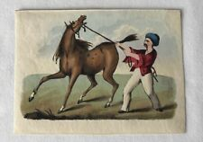 Antique Small Lithograph Picture of Arabian Man with Feisty Horse Late 1800's