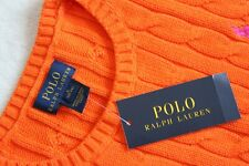NWT POLO Ralph Lauren BACK TO SCHOOL Orange Knit Sweater Girls 12-14 L Large NEW